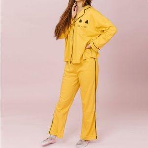 SweetPine 'Mellow Yellow Sleepy Cat' pajamas M 🐱